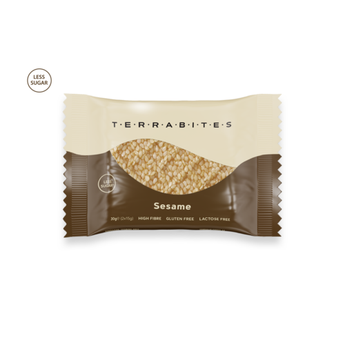 TERRABITES Sesame Seeds - Gluten & Lactose Free - Pack of 10 x 30g Squares (Greece)
