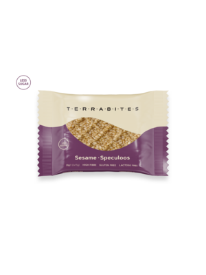 TERRABITES Sesame Speculoos - Gluten & Lactose Free - Pack of 10 x 30g Squares (Greece)