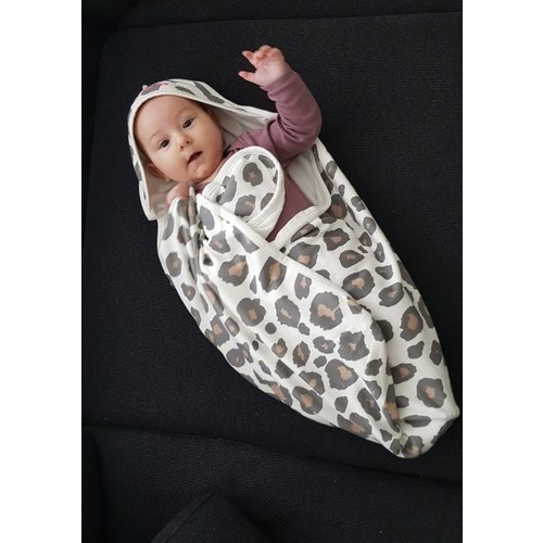 Baby badcape panter met naam