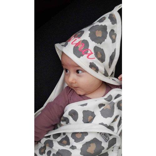 Baby poncho panter met borduring