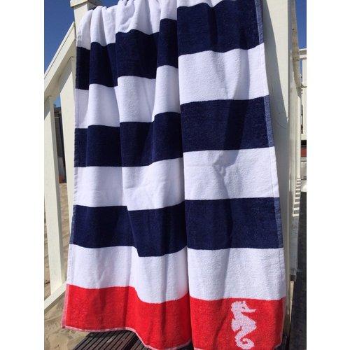 Seahorse Seahorse strandlaken streep - donkerblauw