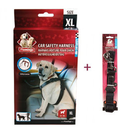 Flamingo Honden veiligheidsharnas + gordel voor in auto maat XL