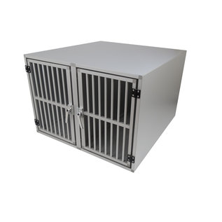 Hundos  Pro Aluminium Autobench Recht Model Dubbel 100x95x67 met spijlen