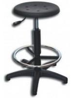 Werkplaatskruk verstelbaar met polyurethaan zwarte zitting en voetensteun