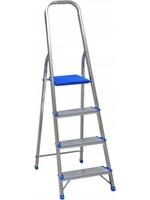 Spider & Co Vrijstaande aluminium professionele trapladder of huishoudtrapje met kunststof platform en beugel met 4 treden. Maximaal belastbaar tot 150 kg.