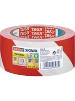 Tesa TESA Zelfklevende Waarschuwingstape 66 x 50mm Rood/Wit 12m