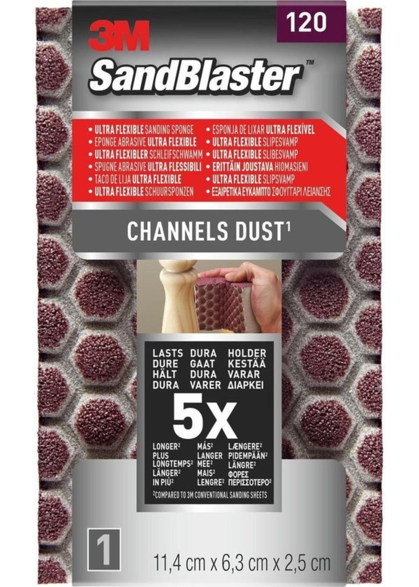 3M 3M™ SandBlaster™ Ultra Flexible Schuurspons, 9120SBE, P120, 11,4 x 6,3 x 2,5 cm,1 kaart