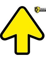 Pijl | vloer sticker | Corona Veilig & Sociaal | markering | Fel Geel Zwart | Antislip | 20 cm