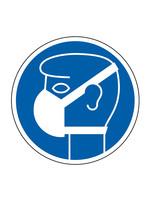 Waarschuwingssticker- Mondkapje Verplicht - rond 200 mm- Vloersticker - Antislip- Covid19 - Corona