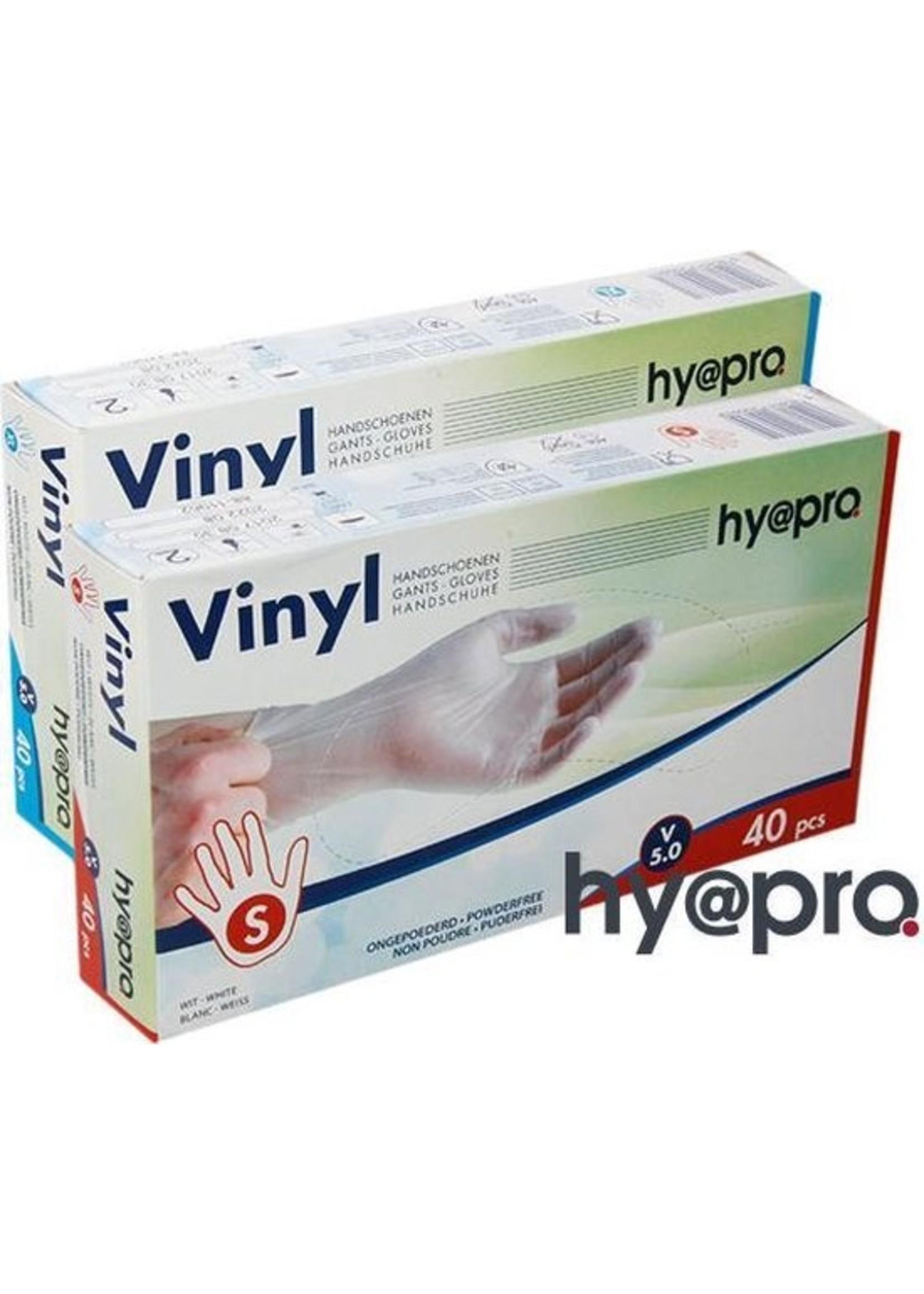 Hy@pro handschoen wit gepoederd vinyl maat S 100 stuks in doos