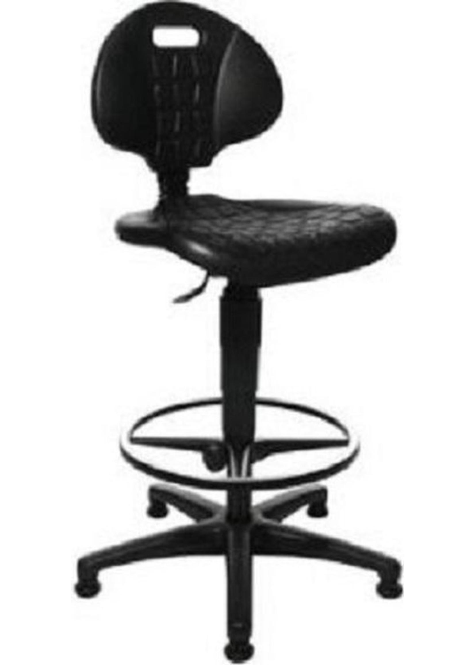 Hoge werkplaatsstoel met verstelbare voetsteun zonder wielen