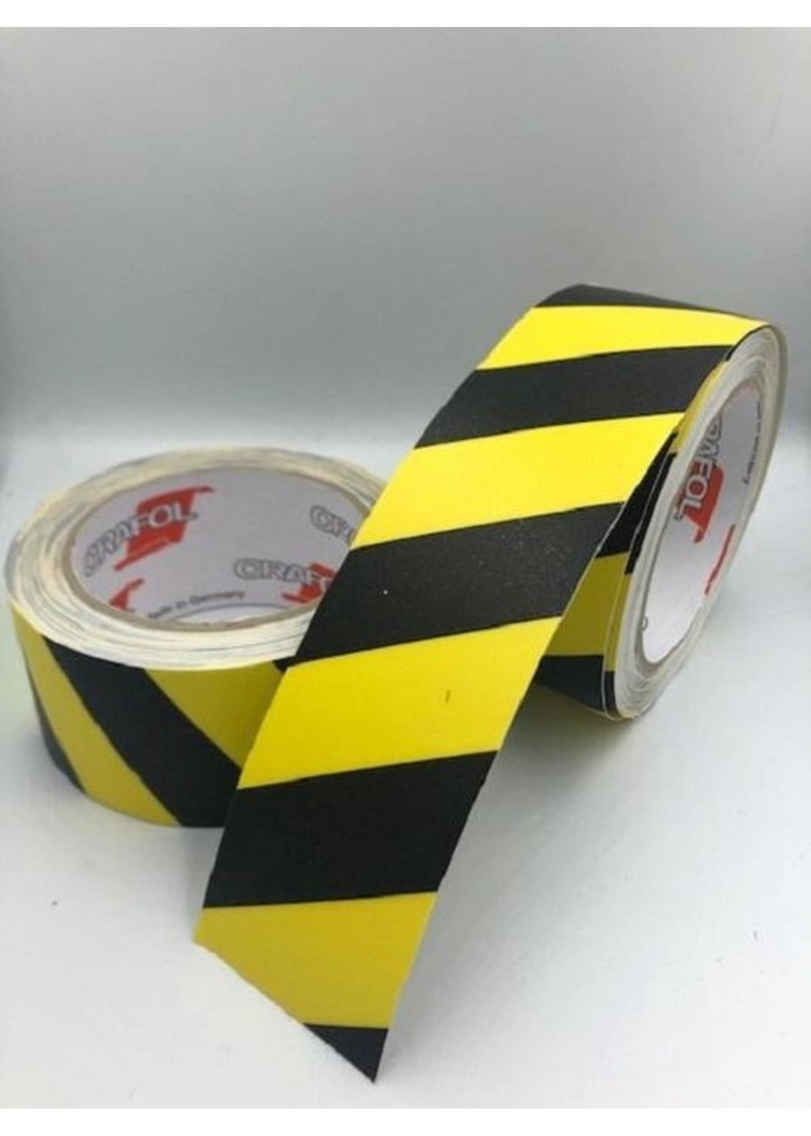 Geel/Zwart markerings vloertape Antislip Spidertech  50 mm (rol 10 meter) Corona