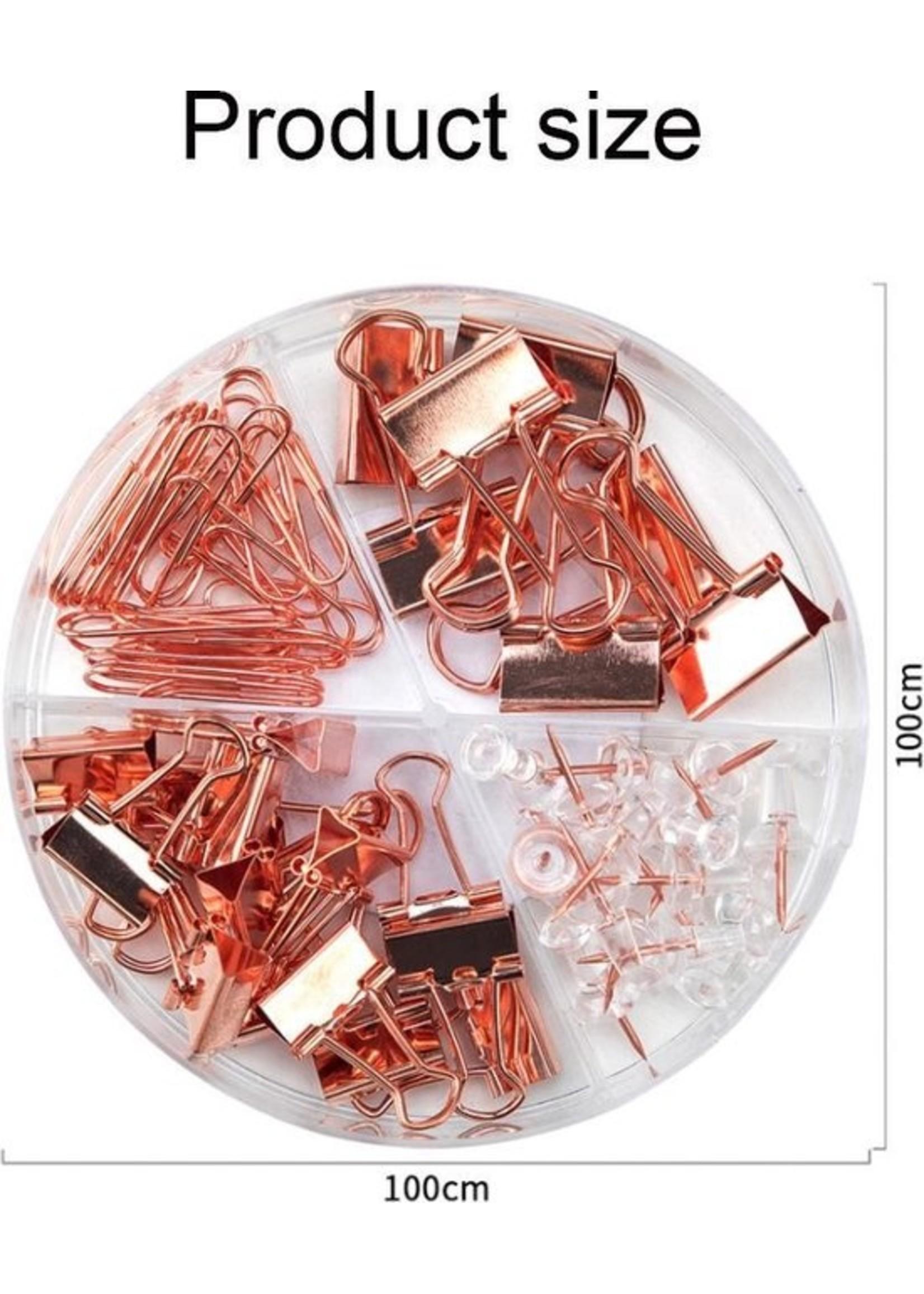 Doosje met punaises, paperclips en 2 maten klemmen rosé-goud