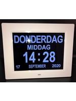 Power Tower Dementie-alarmklok en Kalender - Video/Foto/Muziek Functie - Extra Groot Beeldscherm - Automatisch Dimbaar – Wit