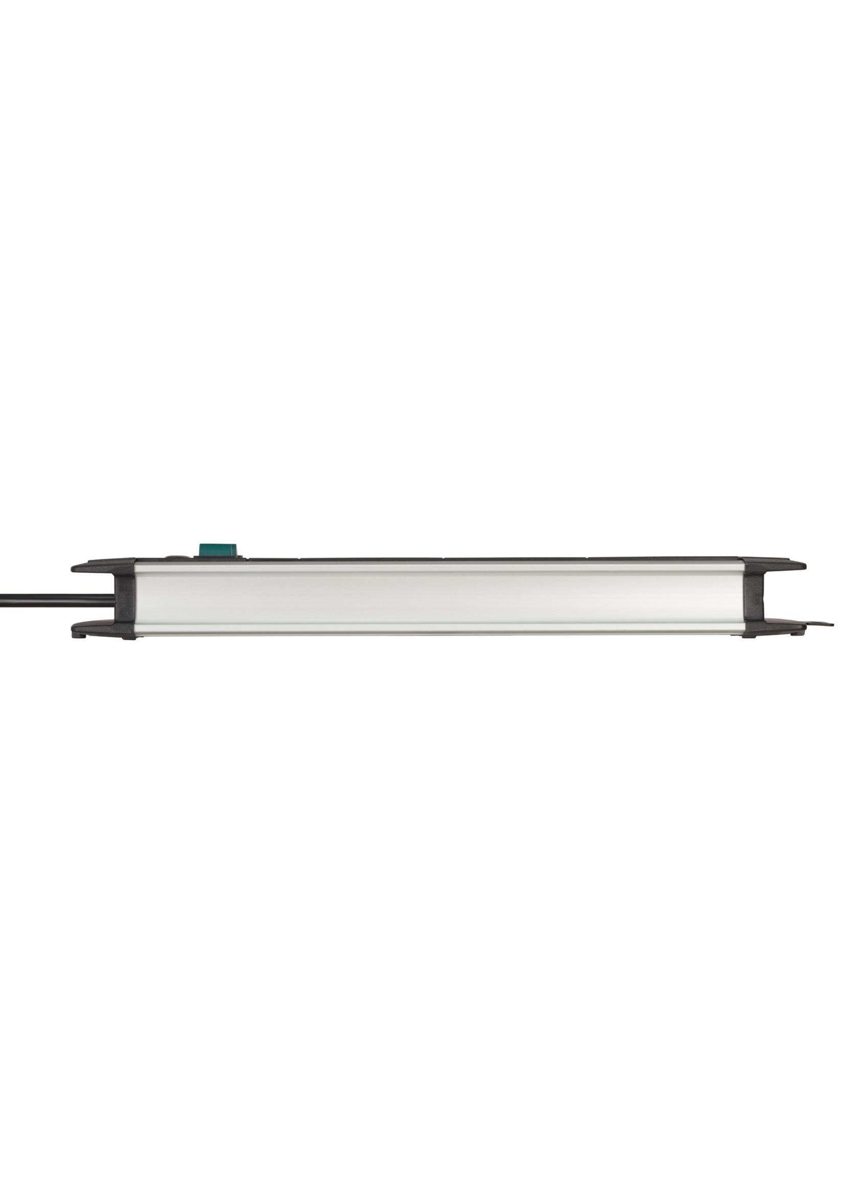 Brennenstuhl Brennenstuhl Premium-Alu-Line Technics stekkerdoos met 12 contacten (2x6) / zwart - 3 meter