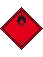 ADR sticker Ontvlambare vloeistof 100 x 100 mm 500 stuks per rol