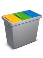 Afvalemmer voor gescheiden verzamelen van 3 soorten afval