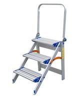 Spider & Co Aluminium inklapbare trap met 3 geperforeerde treden en opklapbare veiligheidsbeugel. Super stevig!