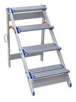Spider & Co Aluminium inklapbare trap met 4 geperforeerde treden en opklapbare veiligheidsbeugel. Super stevig!
