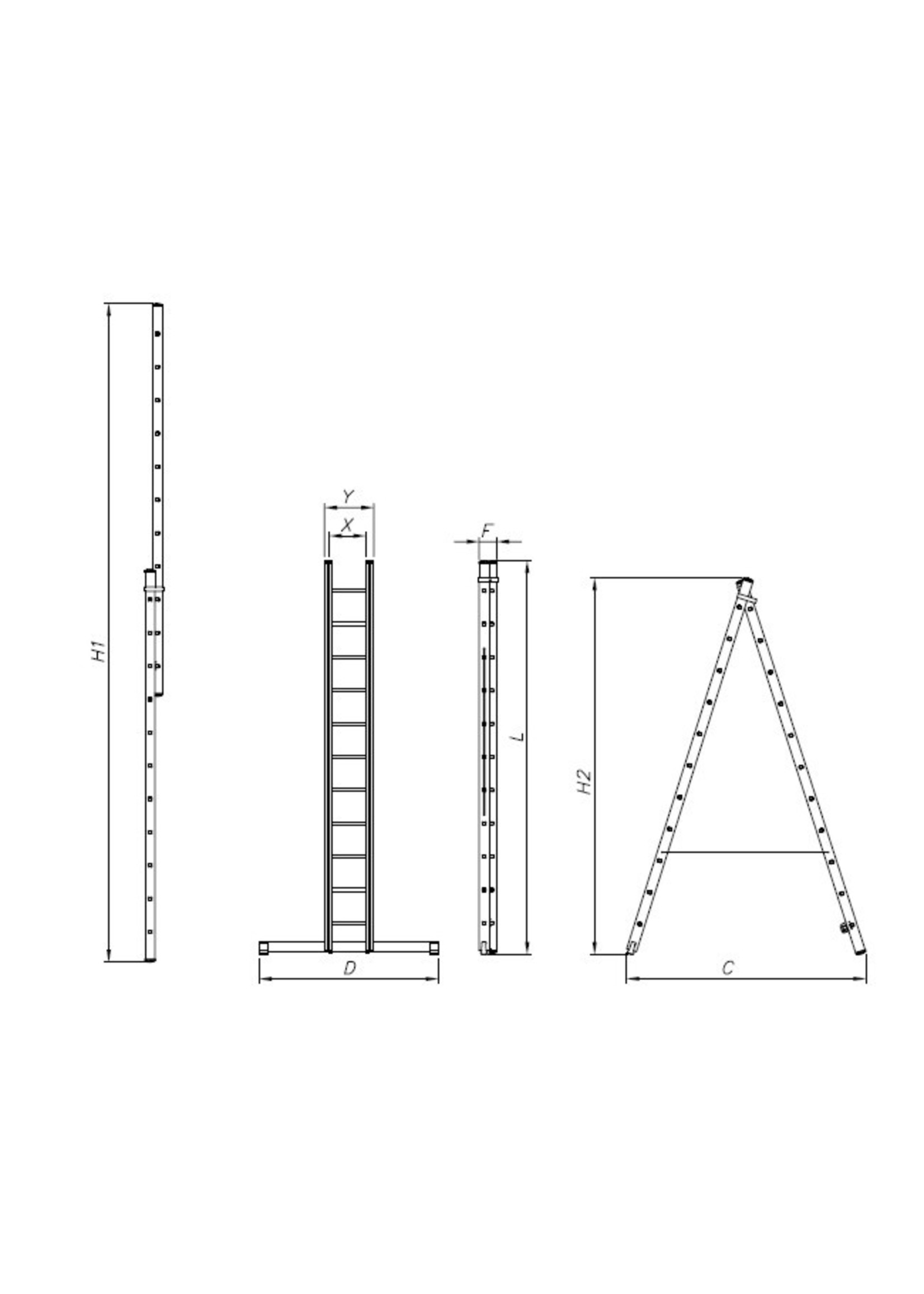 Spider & Co Aluminium opsteek- of uitzetladder professional 2 x 7 treden 197 x 40 cm  EN131 tot 150 kg