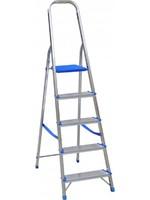 Spider & Co Aluminium professionele ladder of huishoudtrap met kunststof platform en beugel met 5 treden. Belastbaar tot 150 kg!