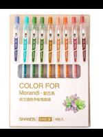 Set van 9 verschillende kleuren gelpennen - Dark