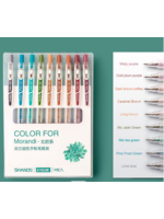 Set van 9 verschillende kleuren gelpennen - Vintage