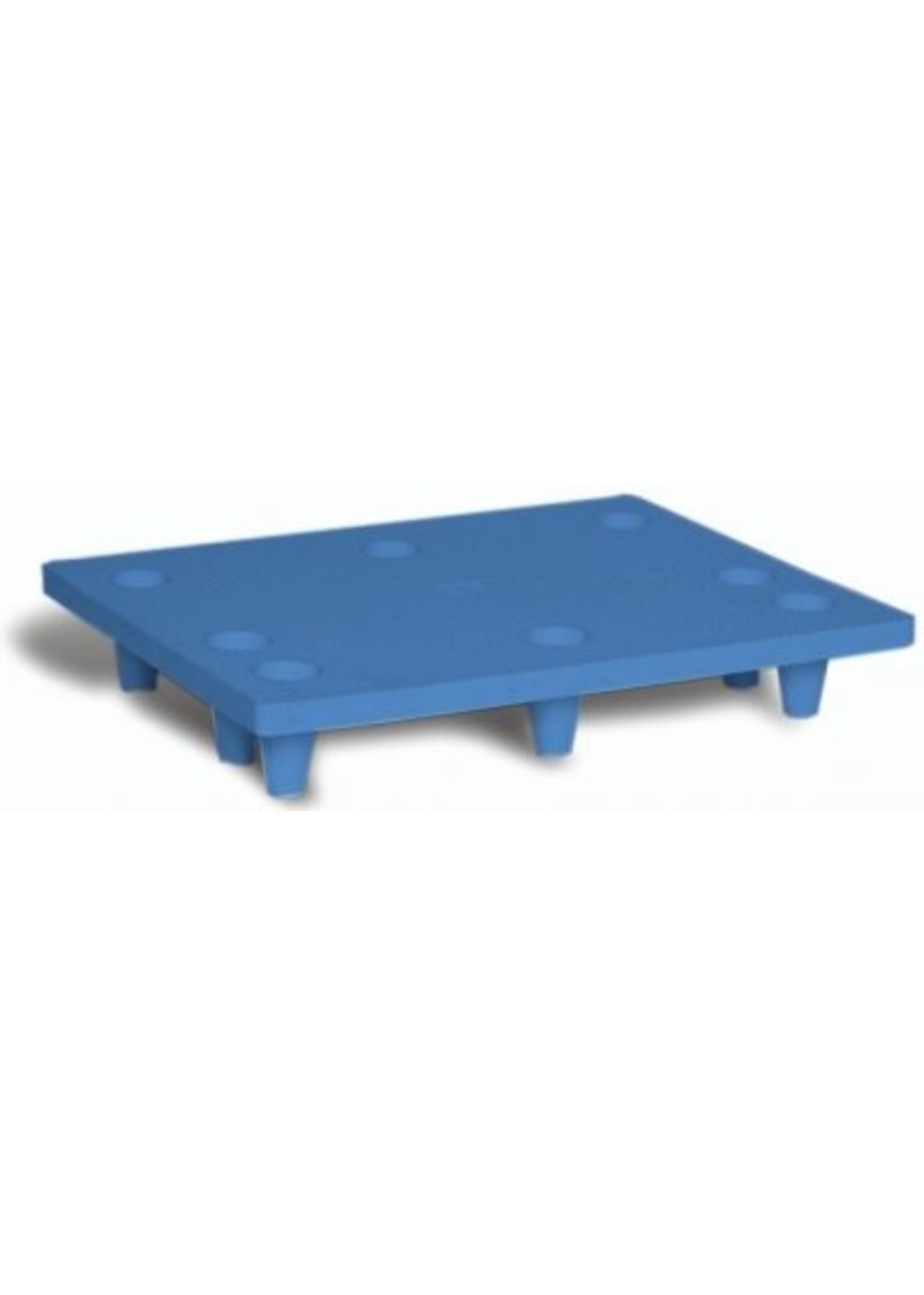 Halve kunststof pallet, met gaten - nestbaar 800 x 600 mm blauw