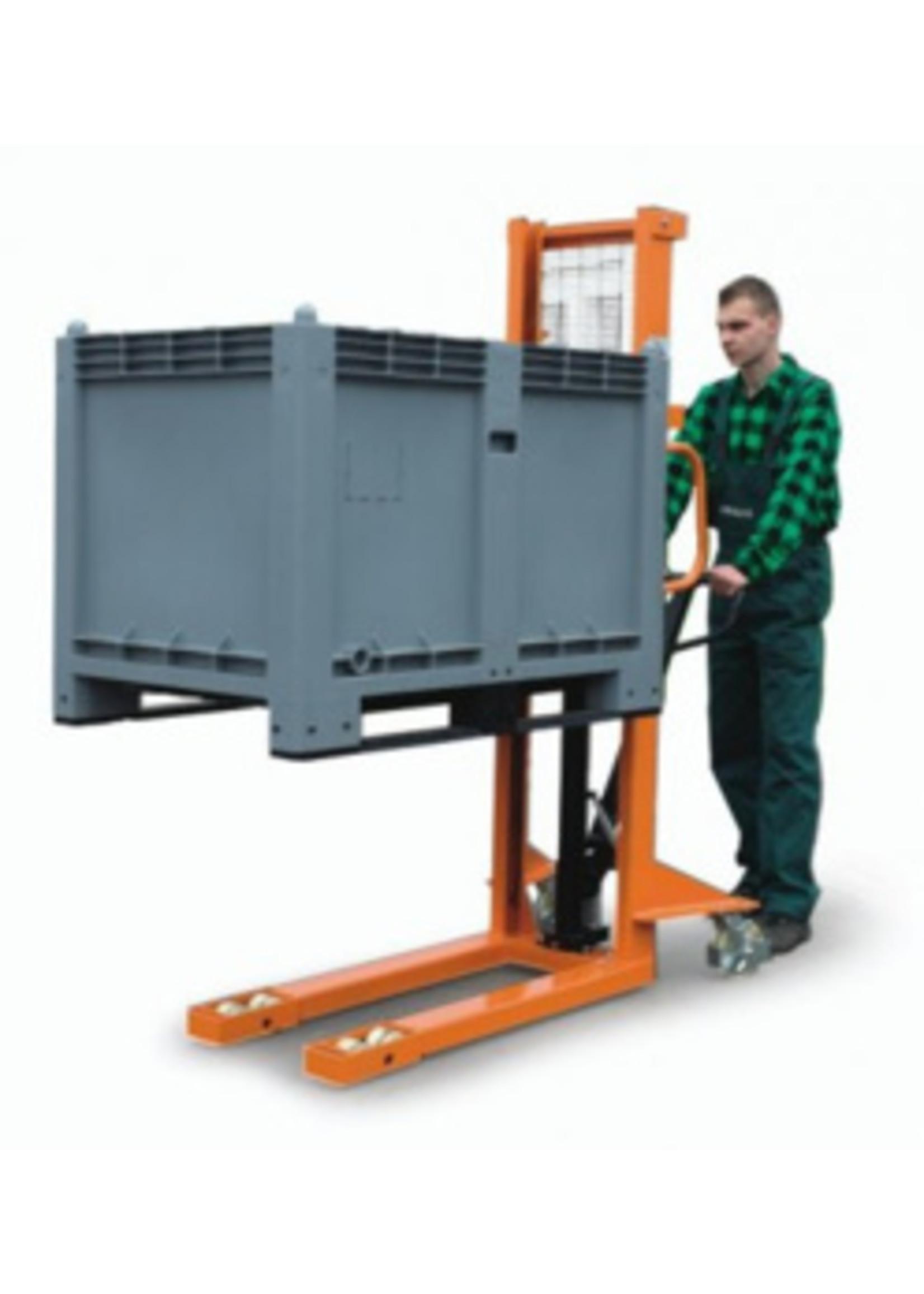 Stapelaar handbediend tot 1600 mm hefhoogte en 660 kg (max 1000 kg)
