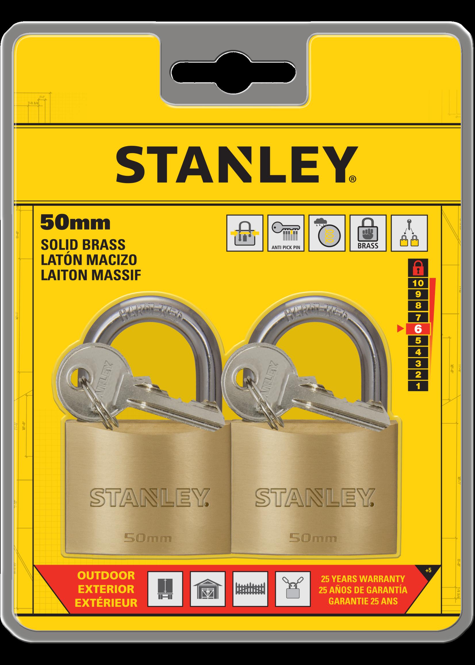 Stanley 2 stuks Stanley hangslot massief messing 50 mm standaard beugel