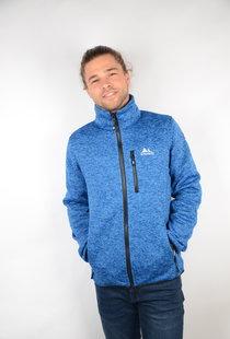 Mens Knitted Fleece Jacket Frank Blue Melange