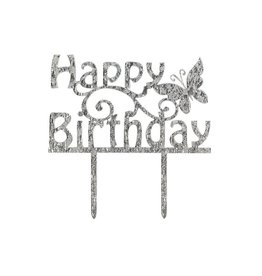 Cake Star Taarttopper - Happy Birthday - Luxe - Zilver