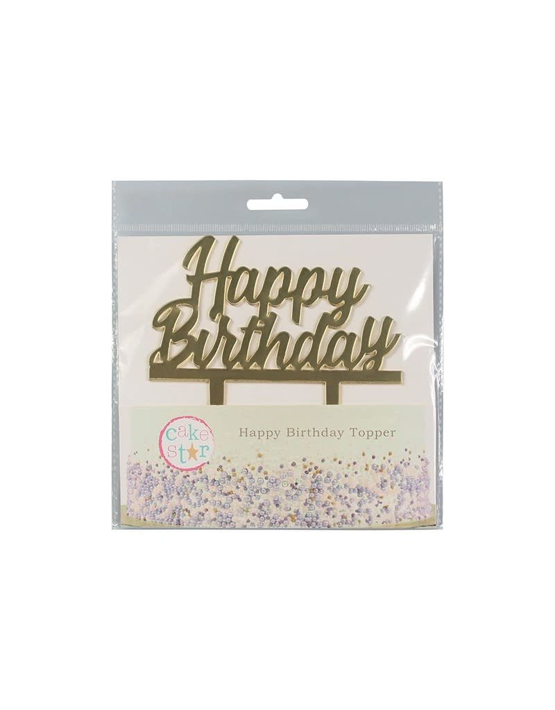 Cake Star Taarttopper - Happy Birthday - Luxe - Goud