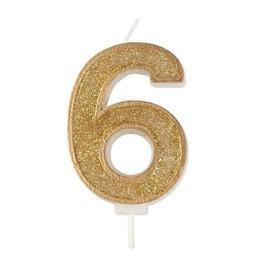 """Culpitt Kaars - goud - cijfer """"6"""""""