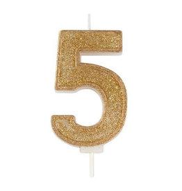 """Culpitt Kaars - goud - cijfer """"5"""""""