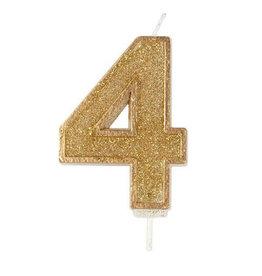 """Culpitt Kaars - goud - cijfer """"4"""""""