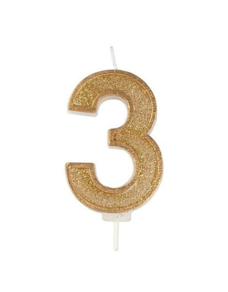 """Culpitt Kaars - goud - cijfer """"3"""""""