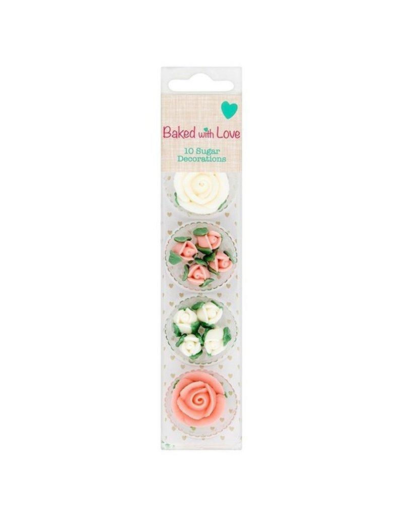 Baked with Love Suikerdecoratie bloemen wit / roze 10st