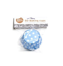 House Of Marie Cupcake cups - stippen blauw - 50st
