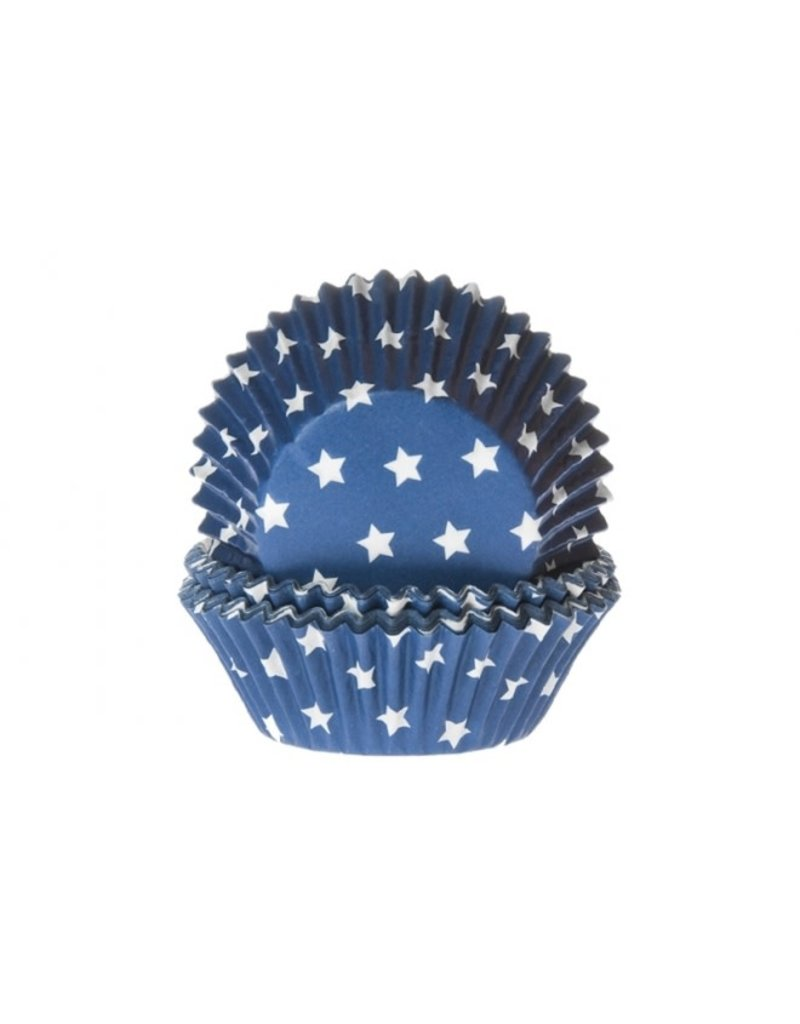 House Of Marie Cupcake cups - sterren donker blauw - 50st