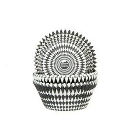 House Of Marie Cupcake cups - harlequino zwart - 50st