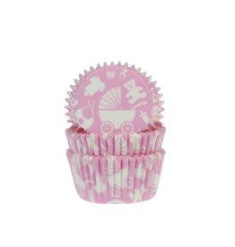 House Of Marie Cupcake cups - geboorte roze - 50st