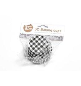 House Of Marie Cupcake cups - ruiten zwart - 50st