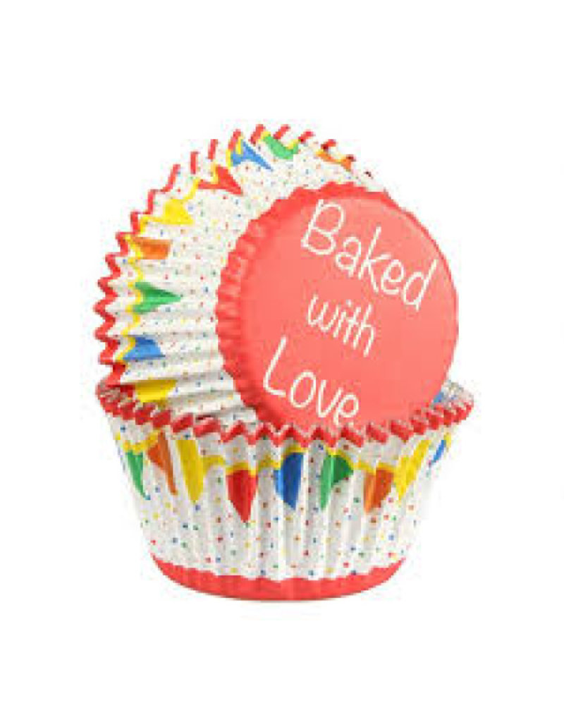 Baked with Love Cupcake cups - Primary Bunting foil - 25st