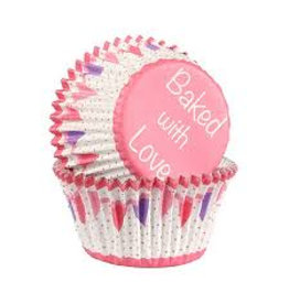 Baked with Love Cupcake cups - Pink bunting - 25st