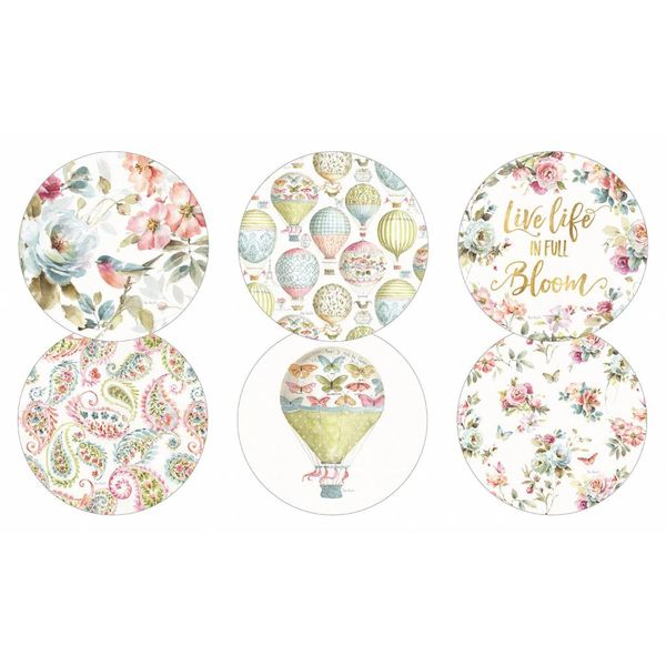 LEGACY FLORAL BLUE BIRD 6 round corc backed coasters