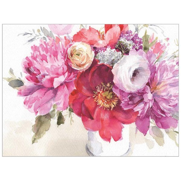 Legacy Pink Flowers in Vase Note Cards
