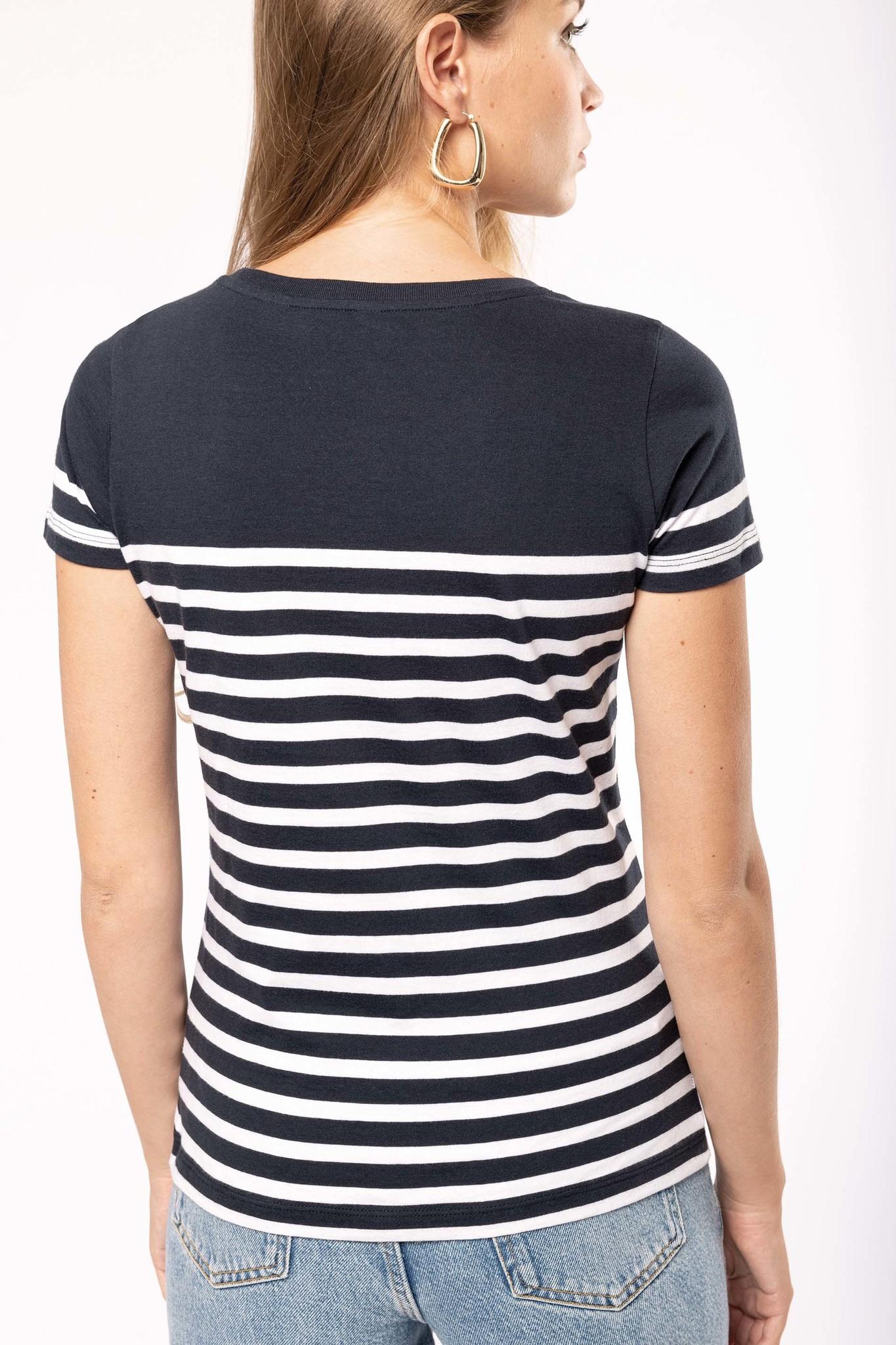 Eco-Friendly  Marine-t-shirt DAMES Navy - Wit
