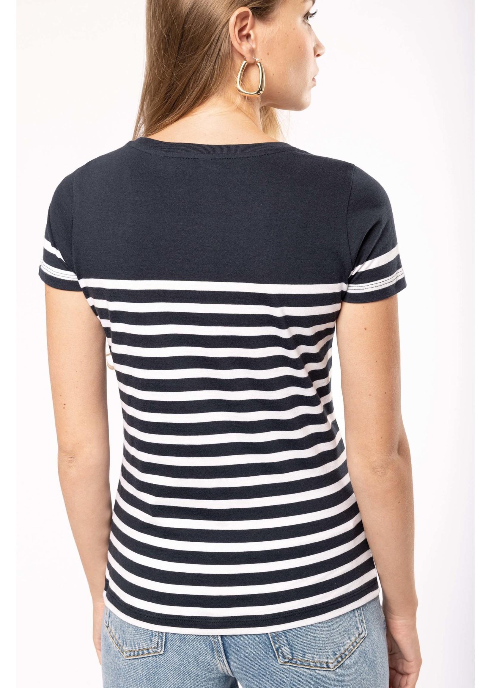 Eco-Friendly  Marine-t-shirt DAMES  Wit-Navy