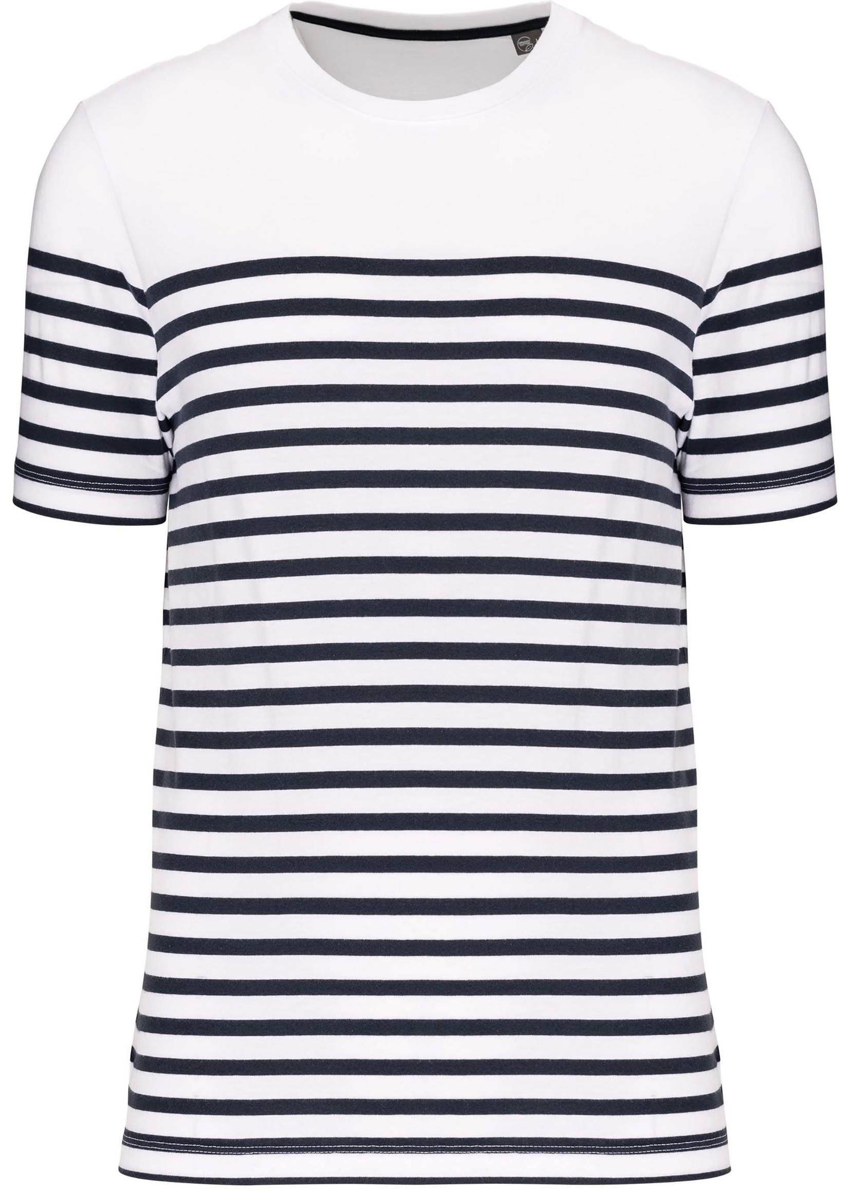 Eco-Friendly  Marine-t-shirt HEREN  Wit-Navy